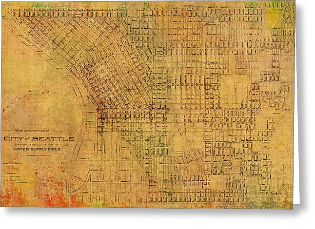 Map Of Seattle Washington Water Pipe And Street Map Vintage Hand Colored Diagram On Worn Parchment Greeting Card by Design Turnpike
