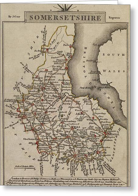 Map Of Somersetshire Greeting Card by British Library