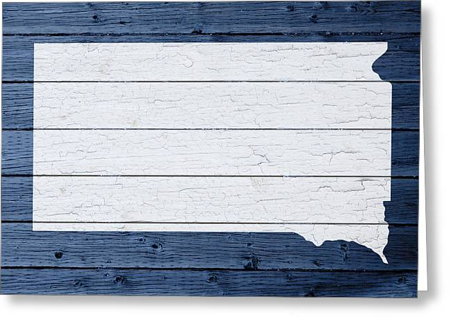 Map Of South Dakota State Outline White Distressed Paint On Reclaimed Wood Planks Greeting Card by Design Turnpike