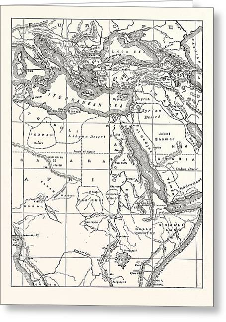 Map Of South Eastern Europe, Western Asia Greeting Card
