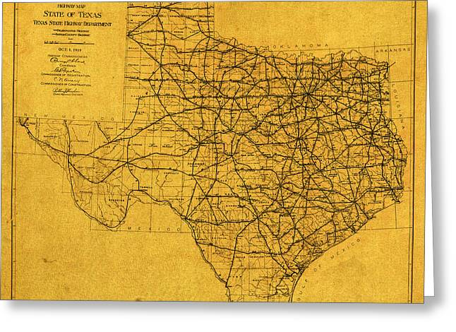 Map Of Texas Highways Vintage 1919 On Worn Distressed Canvas Greeting Card by Design Turnpike