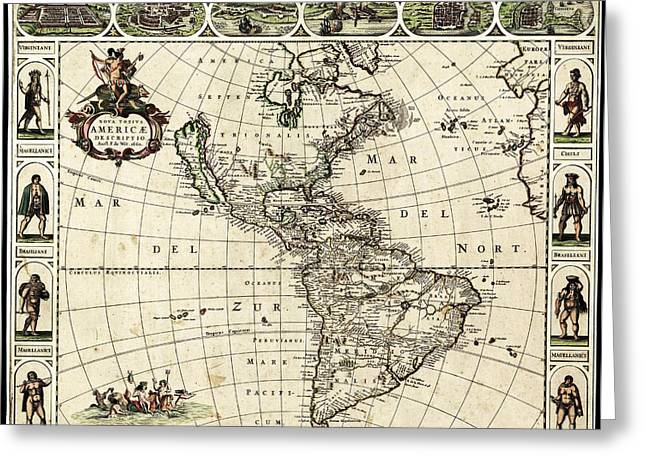 Map Of The Americas Greeting Card by Library Of Congress, Geography And Map Division