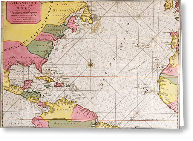 Map Of The Atlantic Ocean Showing The East Coast Of North America The Caribbean And Central America Greeting Card by French School