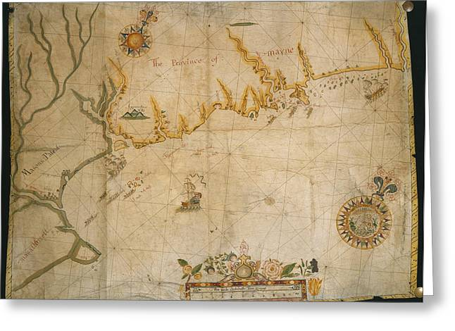 Map Of The Coast Of Maine Greeting Card by British Library