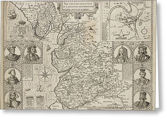 Map Of The County Of Lancashire Greeting Card by British Library