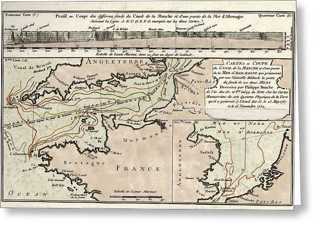 Map Of The English Channel Greeting Card