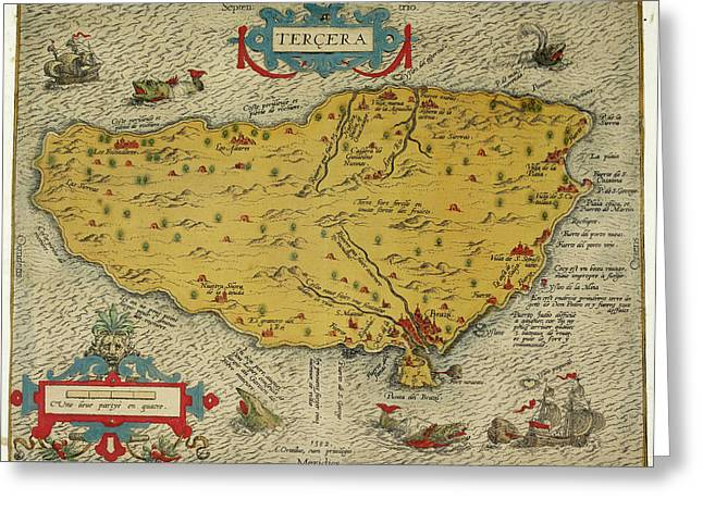 Map Of The Island Of Tercera Greeting Card