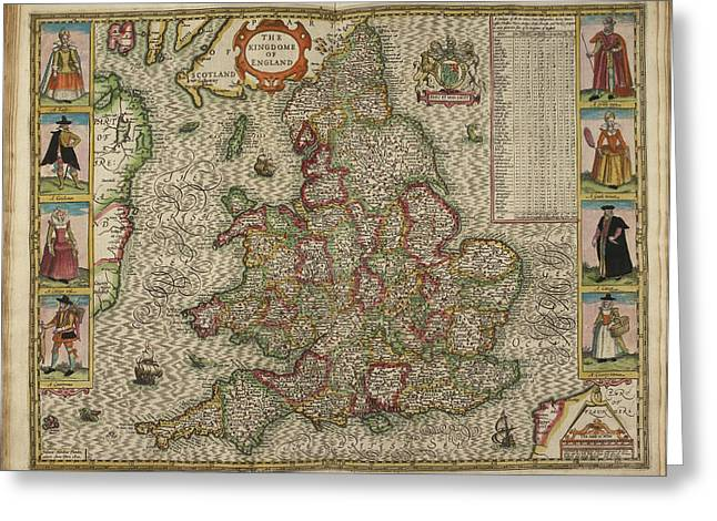 Map Of The Kingdome Of England Greeting Card by British Library