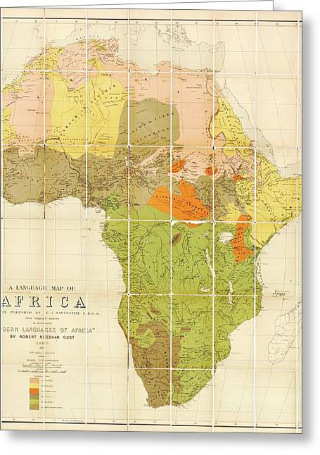 Map Of The Languages Of Africa Greeting Card