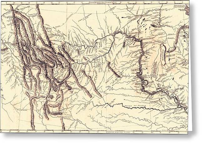 Map Of The Lewis And Clark American Expedition, 1804-1806, Published 1814 Greeting Card by American School
