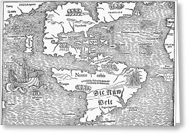 Map Of The New World, 1544 Greeting Card by Granger