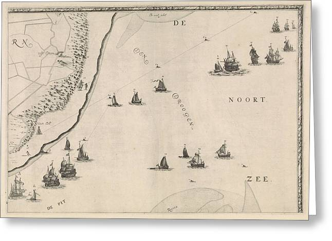 Map Of The North Sea And The Coast Of Holland Greeting Card
