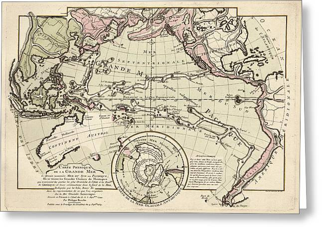 Map Of The Pacific Ocean Greeting Card