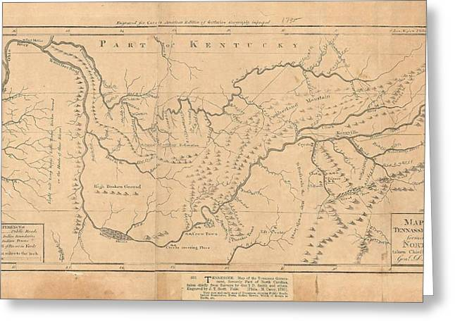 Map Of The Tennassee Government Formerly Part Of North Carolina  Greeting Card by Cody Cookston