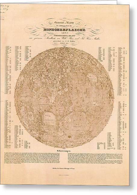 Map Of The Visible Side Of The Moon Greeting Card by American Philosophical Society
