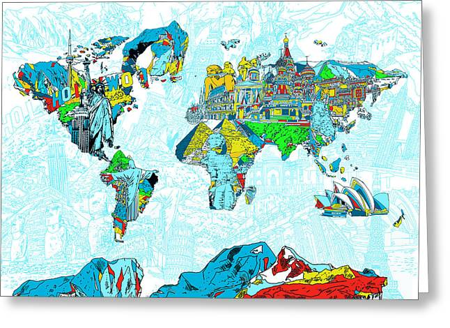 Map Of The World Landmark Collage 2 Greeting Card