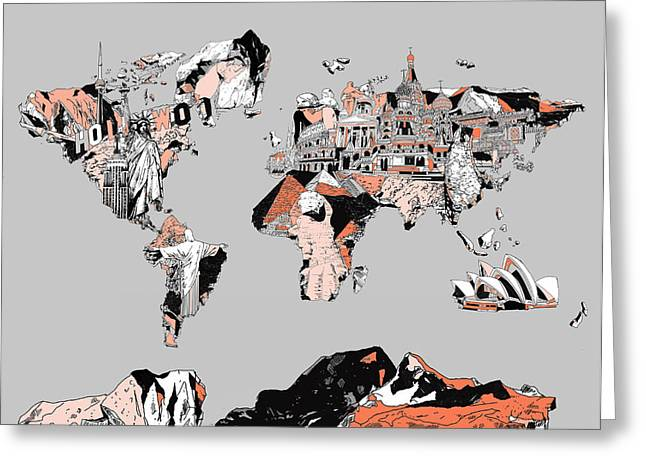 Map Of The World Landmark Collage Greeting Card