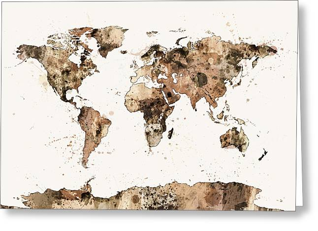 Map Of The World Map Sepia Watercolor Greeting Card