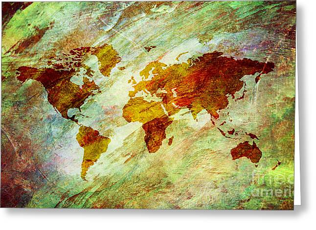 Greeting Card featuring the digital art Map Of The World by Mohamed Elkhamisy
