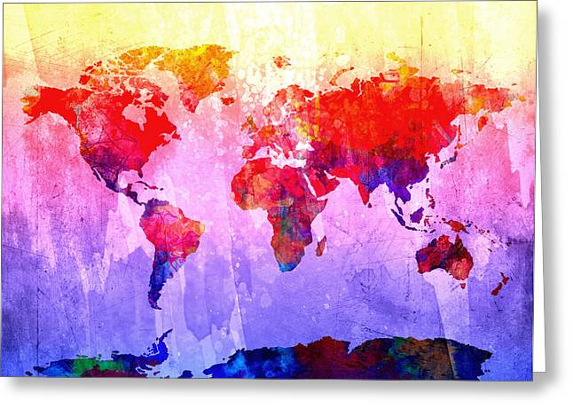 Map Of The World Watercolor 3 Greeting Card by Bekim Art