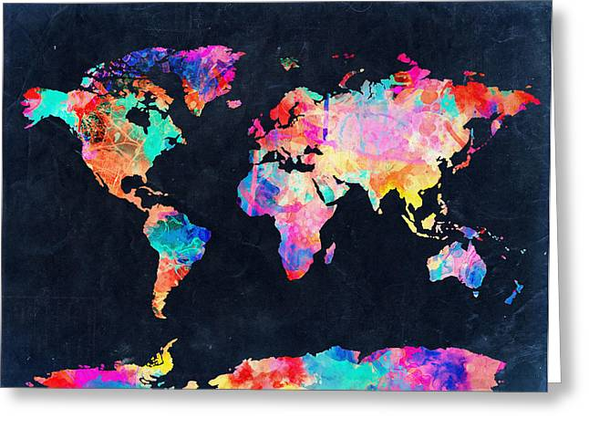 Map Of The World Watercolor 4 Greeting Card