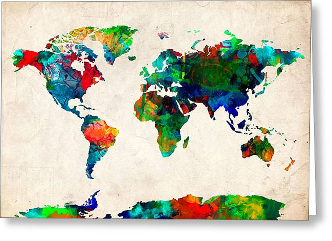 Map Of The World Watercolor 5 Greeting Card