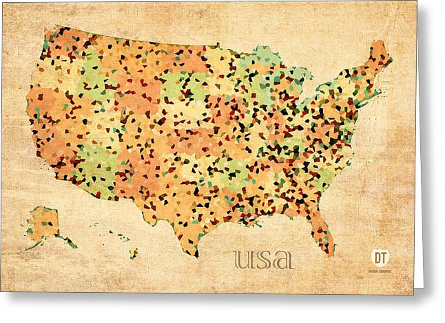 Map Of United States Of America With Crystallized Counties On Worn Parchment Greeting Card by Design Turnpike