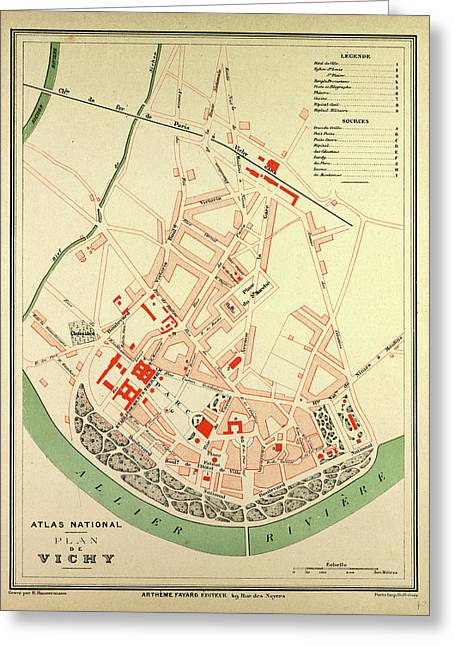 Map Of Vichy France Greeting Card by French School