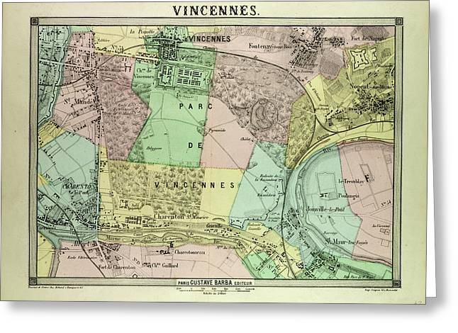 Map Of Vincennes France Greeting Card by French School