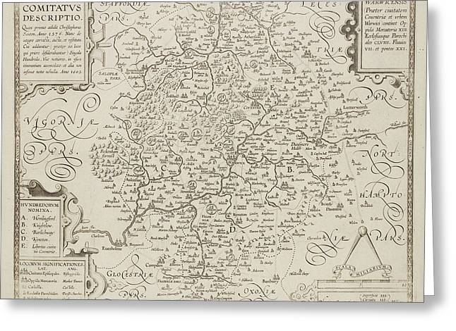 Map Of Warwickshire And Warwick Greeting Card by British Library