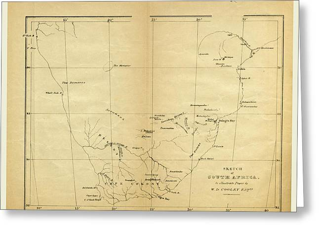 Map, Prospectus Of An Expedition Into The Interior Of South Greeting Card