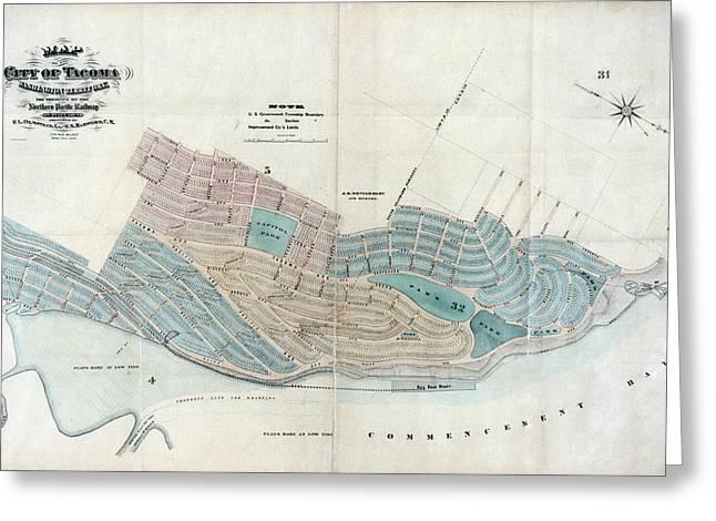 Map: Tacoma, 1873 Greeting Card