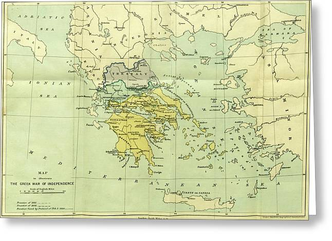 Map, The War Of Greek Independence, 1821 To 1833 Greeting Card by Litz Collection