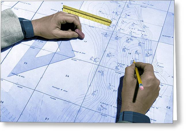 Map Used To Predict Location Of Oil Greeting Card by Science Source