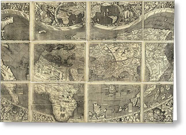 Map Waldseemueller, 1507 Greeting Card by Granger