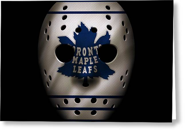 Maple Leafs Jersey Mask Greeting Card by Joe Hamilton