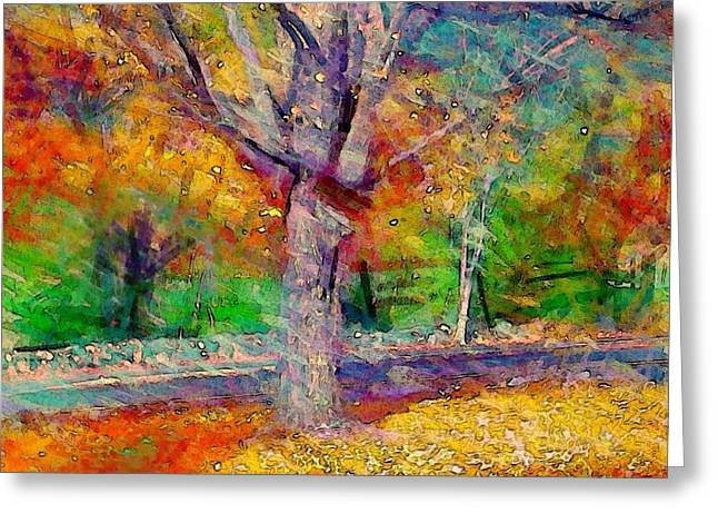 Maple Tree In Autumn - Square Greeting Card