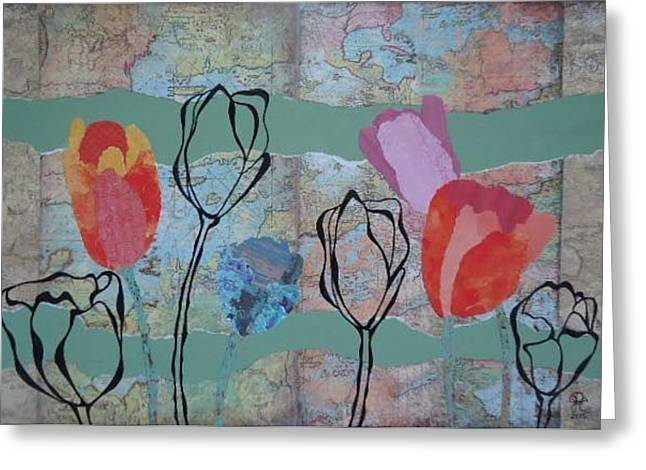 Mapping Tulips Greeting Card by Glenn Calloway