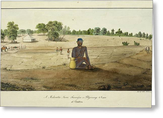 Maratha Ascetic On Pilgrimage To Benares Greeting Card by British Library