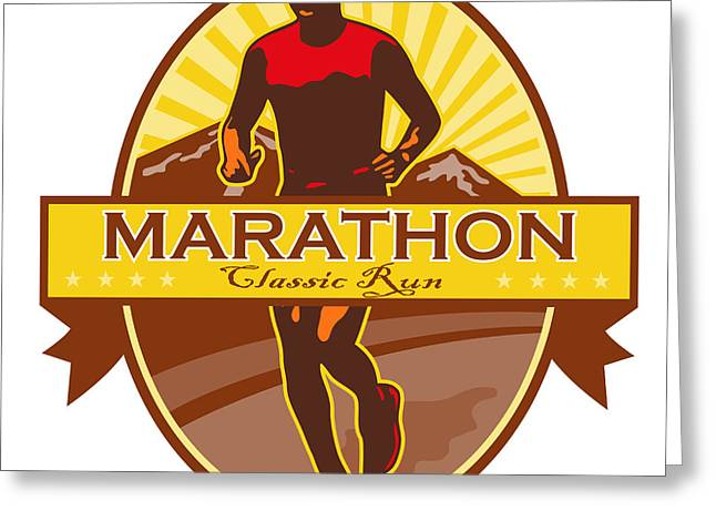 Marathon Classic Run Retro Greeting Card by Aloysius Patrimonio