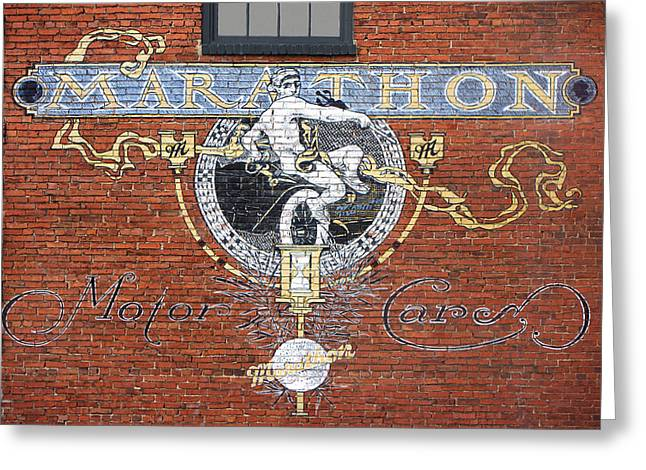 Marathon Motor Cars Sign Greeting Card by Mike McGlothlen