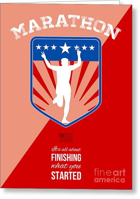 Marathon Runner Finish Run Poster Greeting Card by Aloysius Patrimonio