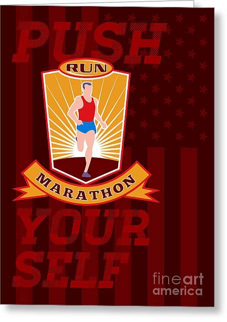 Marathon Runner Push Yourself Poster Front Greeting Card by Aloysius Patrimonio