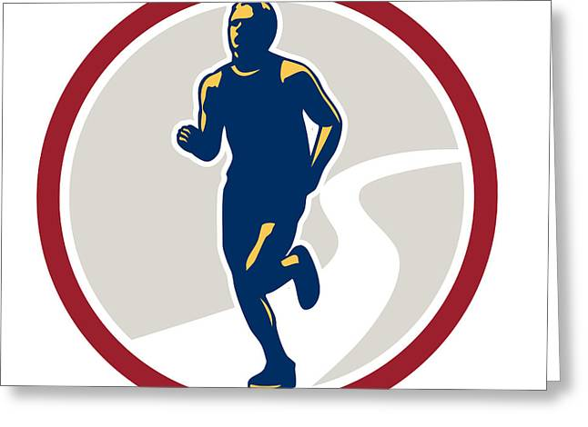 Marathon Runner Running Circle Retro Greeting Card by Aloysius Patrimonio