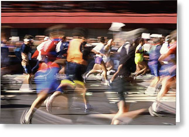 Marathon Runners On The Road, New York Greeting Card by Panoramic Images