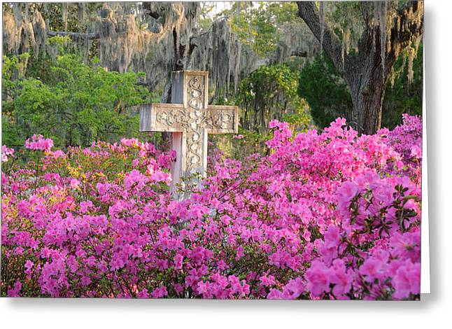 Greeting Card featuring the photograph Marble Cross And Azaleas by Bradford Martin