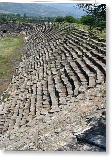 Marble Seats Of Aphrodisias Stadium Northwestern View Greeting Card by Tracey Harrington-Simpson