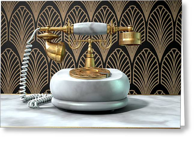 Marble Telephone And Art Deco Scene Greeting Card by Allan Swart