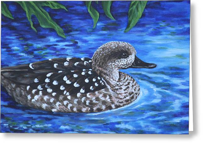 Greeting Card featuring the painting Marbled Teal Duck On The Water by Penny Birch-Williams