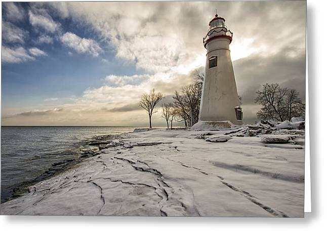 Marblehead In The Snow Greeting Card by Laura James